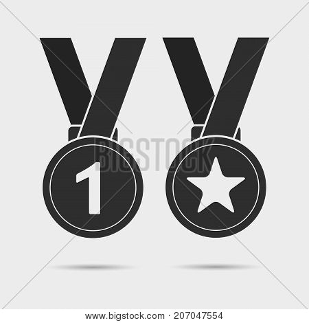 Medal icons with star sign and first place sign. First place medal with ribbon. Award for winner and champion. Vector isolated object.