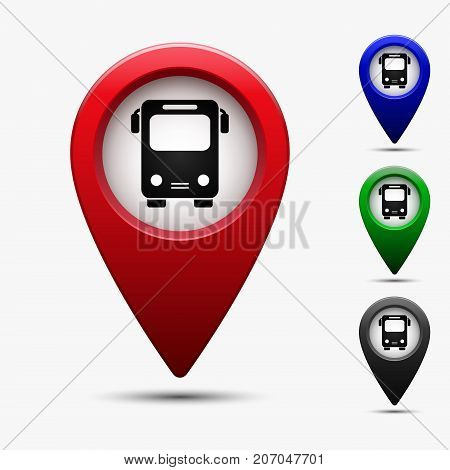 Colored map pointer with bus station symbol. For location map. Mark icon. Sign for gps navigation. Index location on map. Pointer location. Vector isolated ilustration.