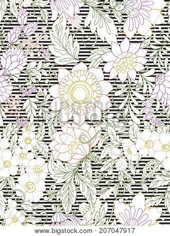 Seamless pattern, background with abstract decorative summer flowers. Stock line vector illustration on black and white stripes.