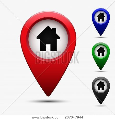Colored map pointer with house home symbol. For location map. Mark icon. Sign for gps navigation. Index location on map. Vector isolated ilustration.