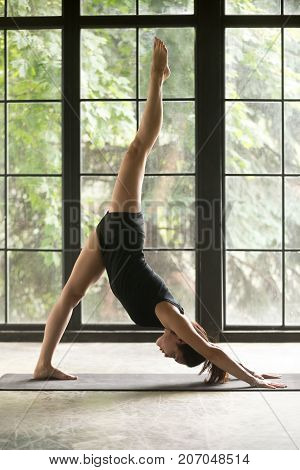 Young woman practicing yoga, standing in one legged downward facing dog exercise, eka pada adho mukha svanasana pose, working out, wearing sportswear, black shorts, top, indoor full length, studio