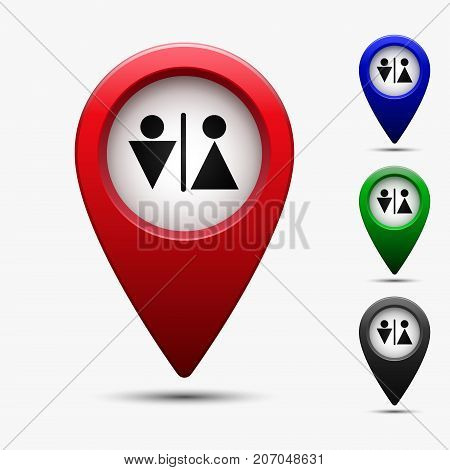 Colored map pointer with symbol toilet and wc. For location map. Mark icon. Sign for gps navigation. Index location on map. Pointer location. Vector isolated ilustration.