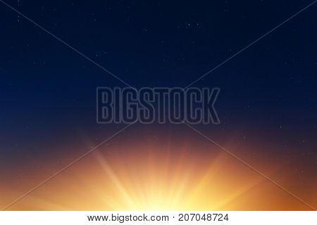 Sun Rise With Empty Dark Night Sky With Stars For Background