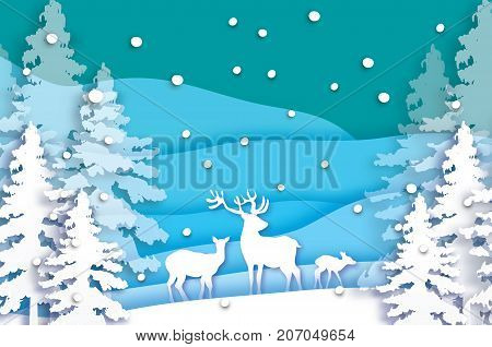 Paper cut deer family in snowy Christmas tree forest. Merry Christmas Greeting card. Origami winter season. Happy New Year. Paper art style. Blue background. Vector illustration