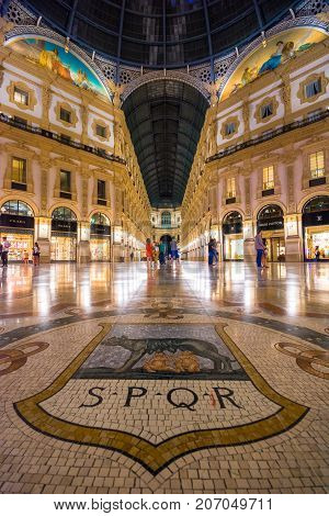 Vittorio Emanuele II in Milano. It's one of the world's oldest shopping malls, designed and built by Giuseppe Mengoni between 1865 and 1877, on July 30, 2017