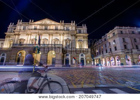 The theater Scala  of Milan, Italy. La Scala (Italian: Teatro alla Scala), is a world renowned opera house in Milano, Italy on July 20, 2017