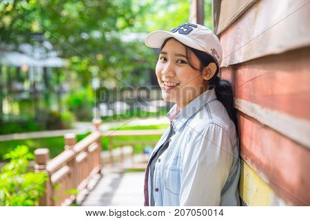 Portrait Cute Young Innocent Asian Teen Smile Hapy Expression With Good Healthy Dental
