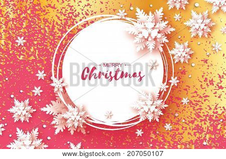 Origami Christmas Greetings card. Paper cut snow flake. Happy New Year. Winter snowflakes background. Circle frame. Text. Pink background with gold metal glitter texture. Vector illustration.