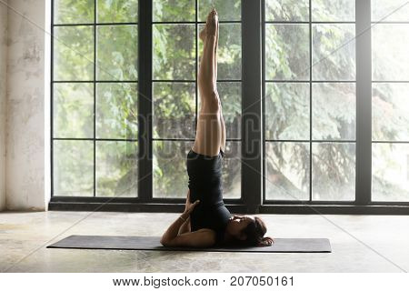 Young woman practicing yoga at home, standing in Salamba Sarvangasana exercise, supported Shoulder stand pose, working out, wearing sportswear, black shorts, top, indoor full length, studio background