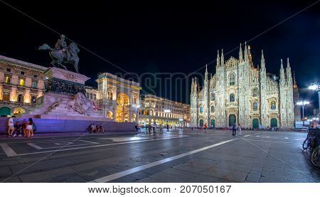 Milan Cathedral, Piazza del Duomo at night, Lombardia, Italy on July 12, 2017.