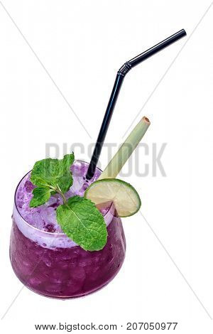 butterfly pea Mocktail with green mint and lime isolated