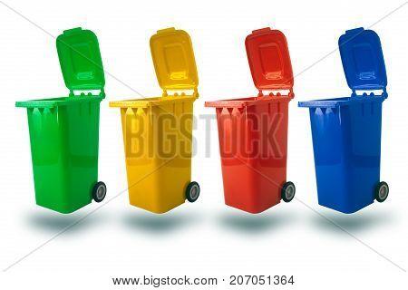 Multiple Color For Separate Type Of Waste Open Cap Plastic Trash Bin Or Recycle Bin Garbage Bin