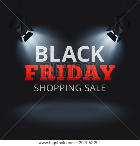Black Friday shopping sale vector background with spotlights on stage and illuminated text. Black friday discount banner, promotion advertising illustration