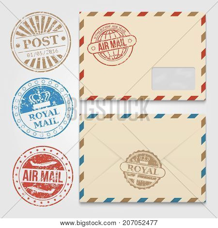 Vintage Envelopes Template With Grunge Postal Stamps. Envelope With Stamp Air  Mail. Vector Illustration