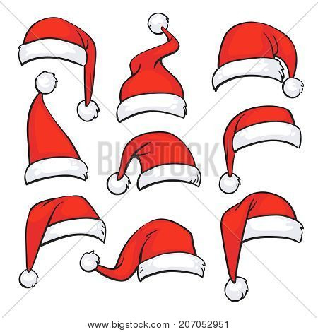 Santa red hats with white fur. Isolated Christmas holiday vector decoration. Christmas hat santa claus illustration