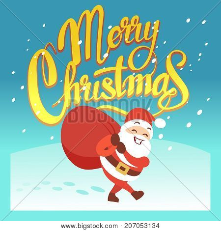 Merry Christmas vector greeting card or party invitation with funny Santa Claus and Xmas gifts. Cartoon santa claus on xmas card illustration