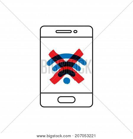 No wifi connection vector illustration. Mobile phone with no wi-fi sign line art concept.