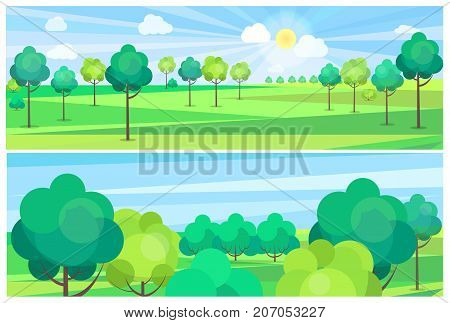 Picturesque scenery landscape with blue river and green trees growing on banks. Vector illustration of clean environment with nice weather