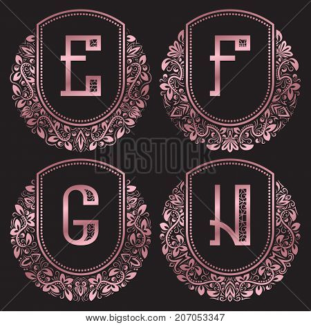 Rose gold monograms set in antique style. Vintage logos with E, F, G, H letters.