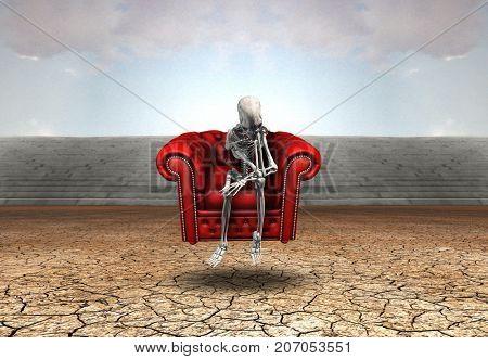 Surreal digital art. Skeleton in thinker pose sits in red armchair in arid land. 3D Rendering