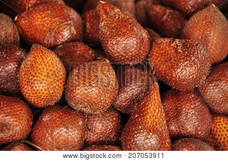 Salak a tropical fruit with a skin resembling a snake skin scales.