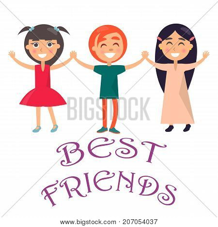 Best friends celebrate international holiday for children. Smiling young kids wishes happy global childrens day vector illustration