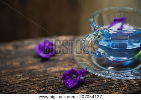 Flower Tea Of Asian Pigeonwings Butterfly Pea Pea Flowers Blue Pea For Healthy Drinking On Wood