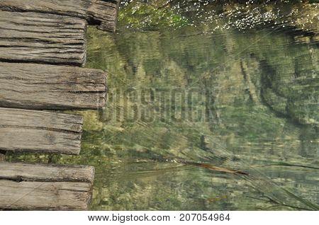 Footbridge and bridges in Plitvice Lakes National Park in Croatia. Holiday