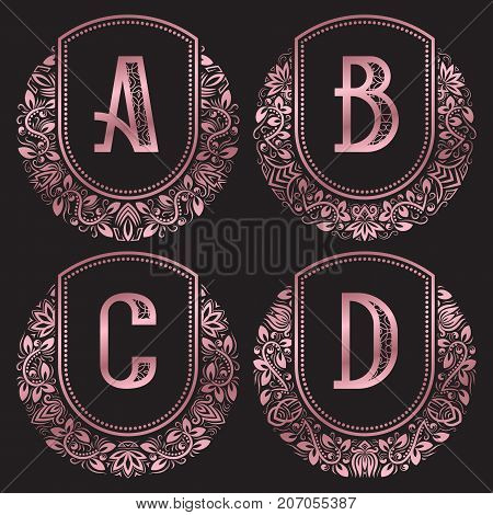 Rose gold monograms set in antique style. Vintage logos with A, B, C, D letters.