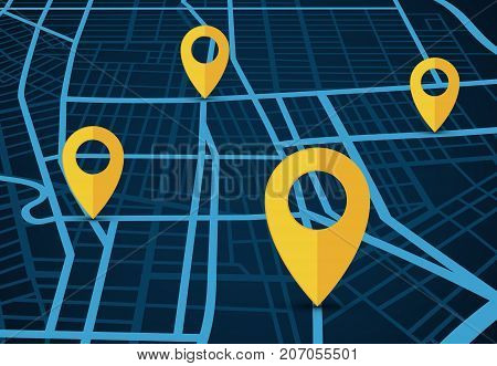 GPS navigation service vector concept. 3D map with location pointers. 3d navigation gps service for travel and search location illustration