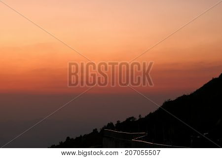 Beautiful twilight sunset and layers of silhouettes mountain in Chiang Mai Thailand