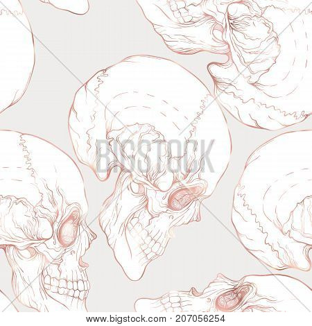Seamless pattern, background with human skull in rose gold colors. Stock line vector illustration.
