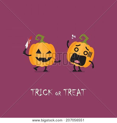 Trick or Treat. Halloween funny pumpkin characters