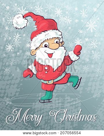 Santa Claus skating on ice. Vector illustration. Hand draw