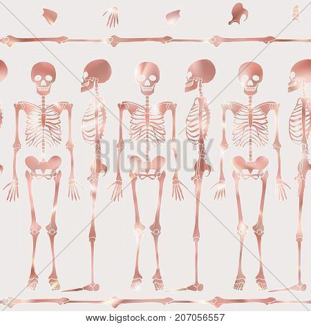 Seamless pattern, background with dancing skeletons in rose gold color. Stock vector illustration.