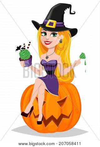 Halloween greeting card. Beautiful lady witch wearing pilgrim hat sitting on pumpkin and eating cake. Cartoon character on white background. Vector stock