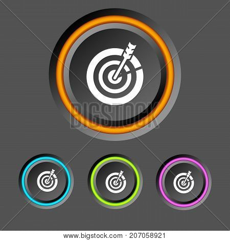 Web business infographics with round buttons colorful edging and target icons on dark background isolated vector illustration