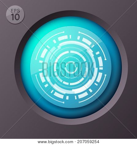 Business infographic concept with round button and futuristic circle image with touch interface circumflex lines vector illustration