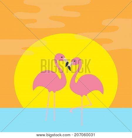 Two pink flamingos standing on one leg. Ocean see water wave sun set. Exotic tropical bird. Zoo animal collection. Cute cartoon character. Love Flat design. Orange background. Vector illustration