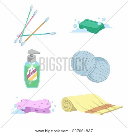 Cartoon trendy simple gradient bath icon set. Cotton sticks soap towel liquid wash cotton pads and sponge. Health and hygiene vector symbols.