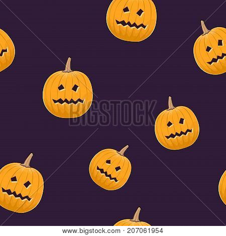 Seamless Pattern of Carved Terrible Scary Halloween Pumpkin Jack-o-Lantern Vector Illustration