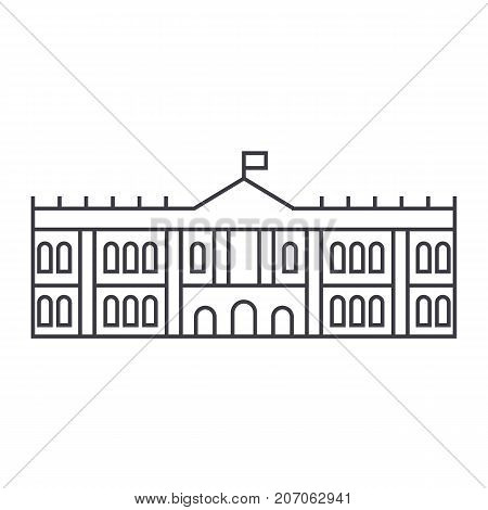 hermitage, museum vector line icon, sign, illustration on white background, editable strokes