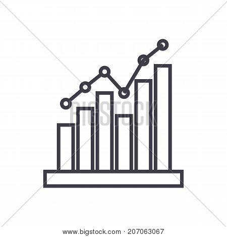 histogram vector line icon, sign, illustration on white background, editable strokes