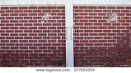 Red brick wall background style decor grunge peeling paint and moldy