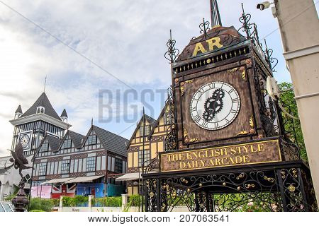 Bangkok, Thailand. - July 30, 2017 : Vintage roman clock at Pickadaily Bangkok shopping mall in English or Europe style, shopping mall and location on Onnuch, Bangkok, Thailand.