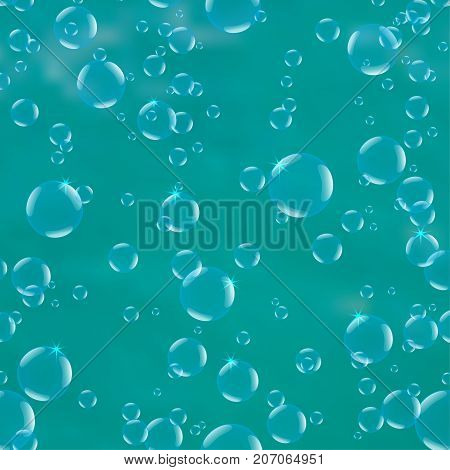 Realistic drops pure, clear water on blue background.