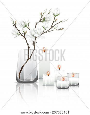 Branches of white magnolia flowers in a clear glass and burning candles with reflection on the floor. Vector illustration on white background.