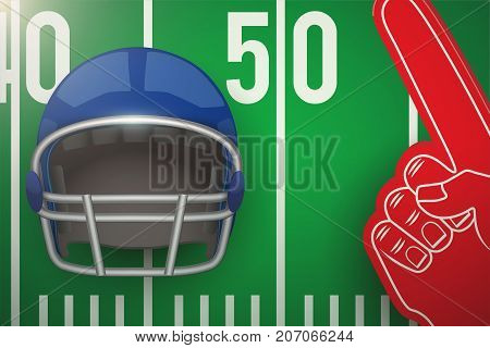 Posters of american football field and helmet with fan fingers. Sports background and symbol. Vector Illustration.