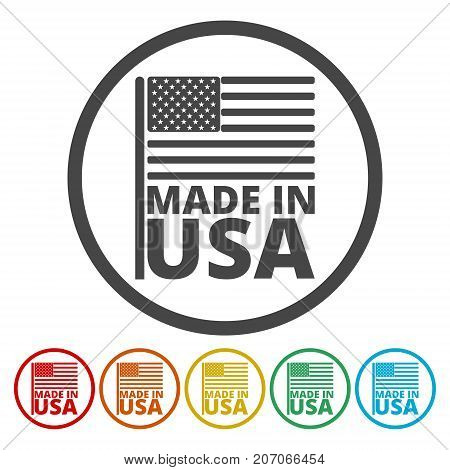 Made in USA, USA (American) flag icons set