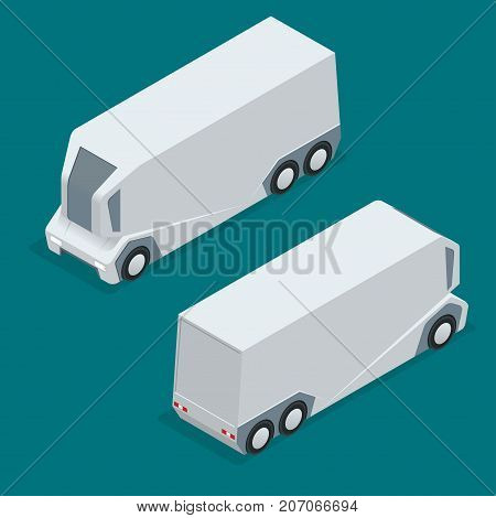 Isometric an unmanned truck on the remote control. Automatic delivery system concept. Self-driving van isolated for web projects, business presentations, infographics and game.